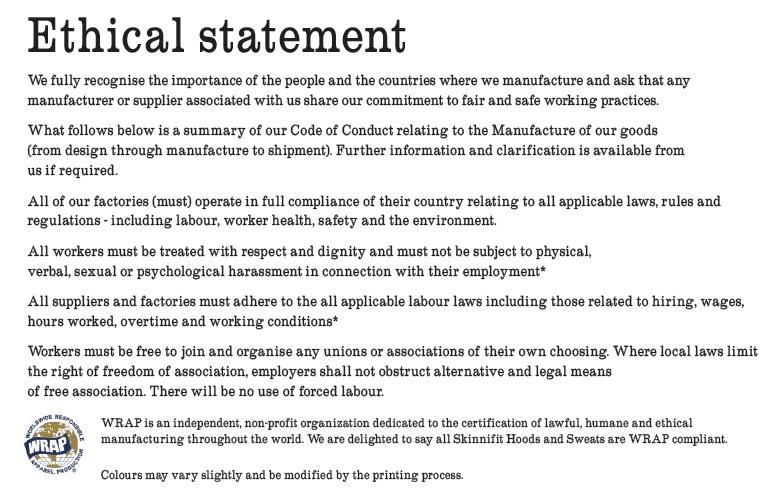 Skinnifit Ethics